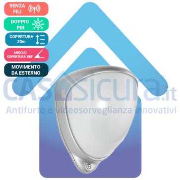Sensore di Movimento Volumetrico da Esterno a Doppio PIR con copertura a 180° sino a 30 metri + Copertura a Tenda Completamente Senza Filo