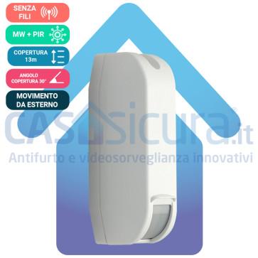 Sensore Perimetrale a Tenda da Esterno ALL-Technologies, Sei tecnologie, Completamente Senza Filo