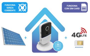 KIT: Telecamera IP 100% senza fili a BATTERIA versione compatta + router 4G + alimentazione solare, tutto senza fili