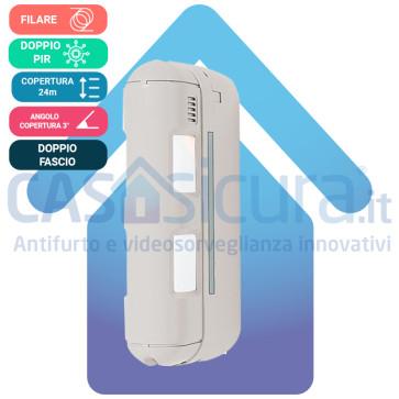 Sensore movimento Doppio PIR a barriera da esterno - via filo