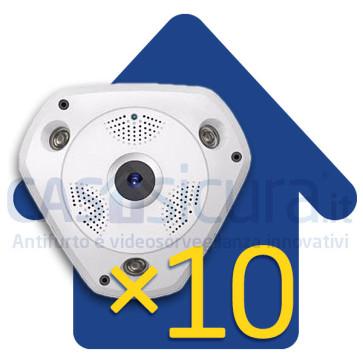 Bundle 10 pezzi - Telecamera IP wifi 360° Fisheye - 4 telecamere in 1