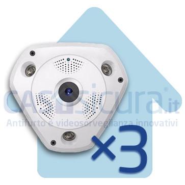 Bundle 3 pezzi - Telecamera IP wifi 360° Fisheye - 4 telecamere in 1