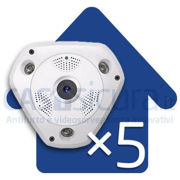 Bundle 5 pezzi - Telecamera IP wifi 360° Fisheye - 4 telecamere in 1