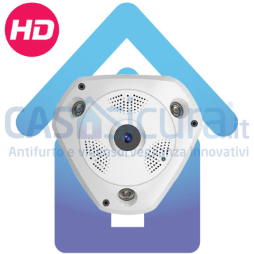 Telecamera IP wifi 360° Fisheye - 4 telecamere in 1