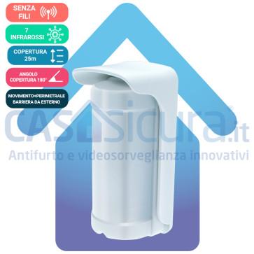 Sensore Perimetrale a Barriera + Volumetrico con 7 Infrarossi  per copertura a 180° e sistema Anti-Mascheramento integrato 100% SENZA FILO