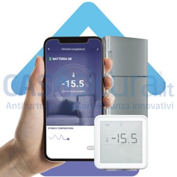 Sensore temperatura congelatore, freezer, frigorifero, cella frigorifera - con allarme e notifica APP, 100% a batteria