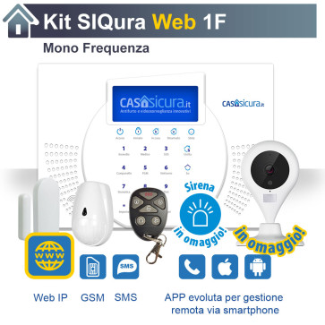 KIT Siqura Web, centrale Mono Frequenza, Internet + SIM