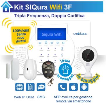 KIT Siqura Wifi (senza cavo di rete), centrale Tripla Frequenza, Internet + GSM