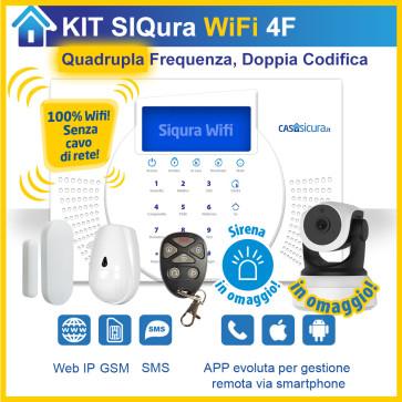 KIT Siqura Wifi 2.4 + 5Ghz (senza cavo di rete), centrale QUADRUPLA Frequenza, Internet + SIM
