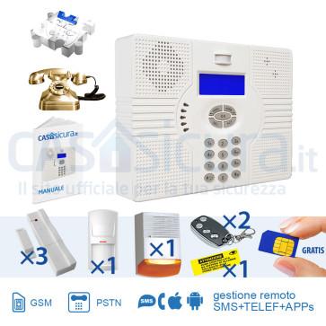 KIT Superokkio 6X, centrale Tripla Frequenza, per linea fissa + GSM/3G/4G + SMS + WEB
