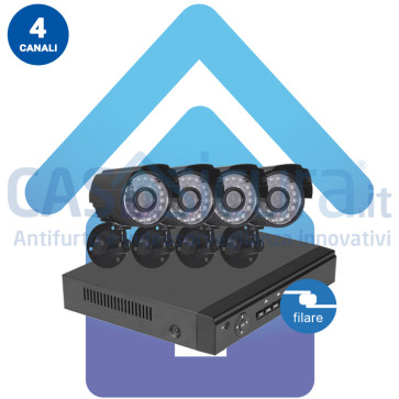 Kit Videosorveglianza IP filare nvr 4 canali 4 Telecamere IP
