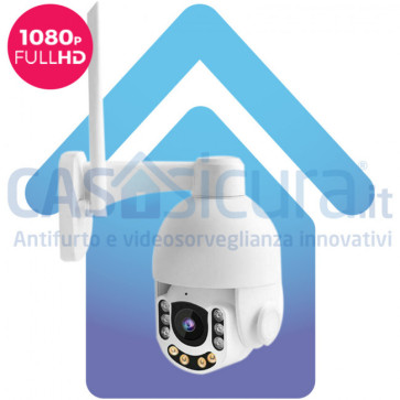 Telecamera IP senza fili da esterno 360° con risoluzione Full HD v8.0, visione notturna, audio, super zoom ottico, lettura targhe nitida
