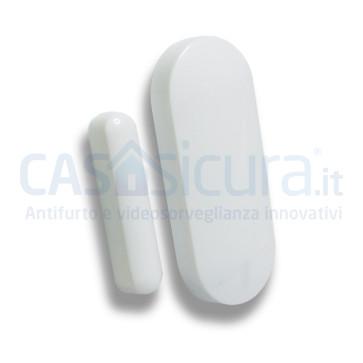 """Sensore contatto magnetico porta finestra BIANCO con tecnologia """"anti-inganno"""" - SUPERSLIM"""