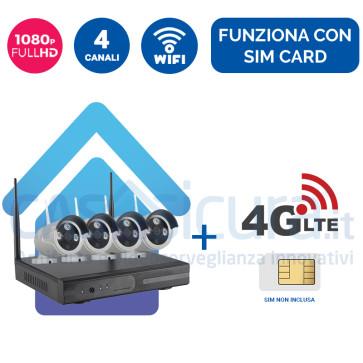 Kit Videosorveglianza 4G Wireless nvr 4 canali 4 Telecamere ampia copertura radio - Funziona con SIM e wifi