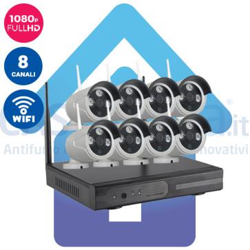 Kit Videosorveglianza IP Wireless nvr 8 canali 8 Telecamere IP HD wifi Autoconfigurante ampia copertura radio