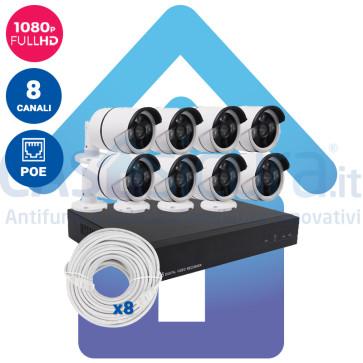 Kit Videosorveglianza IP POE nvr 8 canali 8 Telecamere IP HD Autoconfigurante