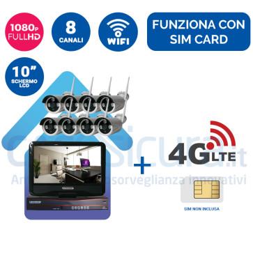 """Kit registratore NVR + 8 Telecamere FULL HD wifi + monitor LCD 10"""" potenziato con tecnologia a cascata - Funziona con SIM 3G/4G e wifi"""