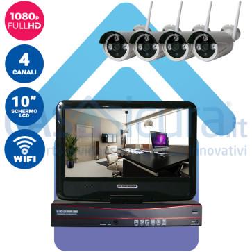 """Kit registratore NVR + 4 Telecamere HD wifi + monitor LCD 10"""" potenziato con tecnologia a cascata"""