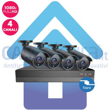 Kit Videosorveglianza IP filare nvr 4 canali 4 Telecamere IP HD 1080p