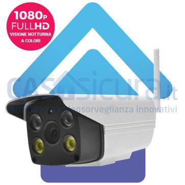 Super telecamera IP full HD wifi con visione notturna A COLORI, funzione allarme e sirena incorporata