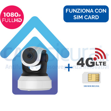 Telecamera IP 4G senza fili da interno, alta definizione FULL HD 8.0, robotizzata con router - Funziona con SIM e wifi