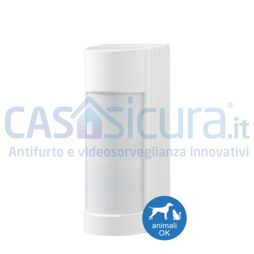 Sensore da esterno multidimensionale PIR+microonda, antimascheramento SENZA FILI