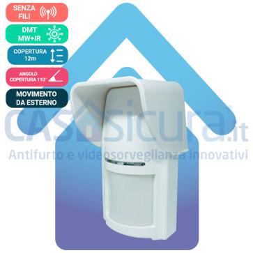 Sensore movimento senza fili PIR+MW Tripla tecnologia da esterno