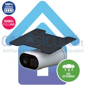 Telecamera IP 100% senza fili a batterie con pannello solare, da esterno, con rilevazione di movimento super accurata