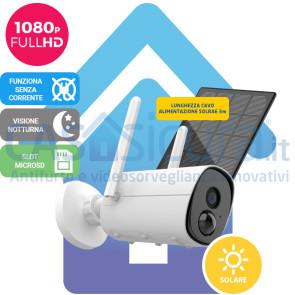 Telecamera IP 100% senza fili, da esterno, audio, visione notturna, full HD con pannello solare