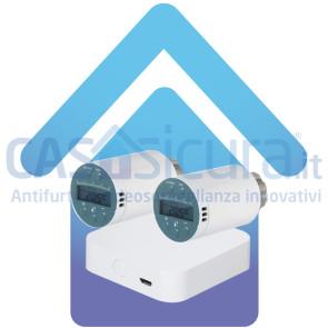 KIT Valvole termostatiche smart, display LCD, UNIVERSALE, app e comando vocale, risparmio energetico