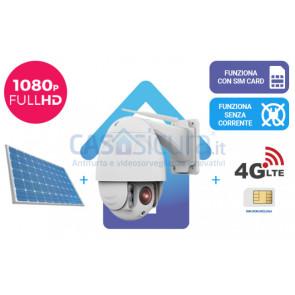 KIT: Telecamera da esterno 360° con zoom ottico e visione notturna + router 4G + alimentazione solare, tutto senza fili