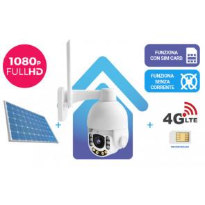 KIT: Telecamera da esterno 360° con risoluzione Full HD 8.0 versione PRO + router 4G + alimentazione solare, tutto senza fili