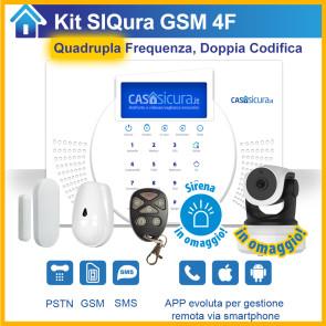 KIT Siqura, centrale QUADRUPLA Frequenza e doppia codifica, SIM + PSTN + SMS + APP