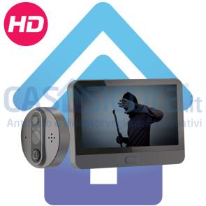 Spioncino Digitale smart a batteria con display LCD, Audio bidirezionale, campanello, visione notturna e APP