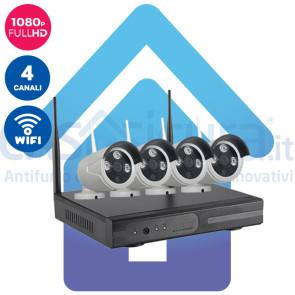Kit Videosorveglianza IP Wireless nvr 4 canali 4 Telecamere IP FULL HD wifi Autoconfigurante ampia copertura radio