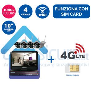 """Kit registratore NVR + 4 Telecamere HD wifi + monitor LCD 10"""" potenziato con tecnologia a cascata - Funziona con SIM 3G/4G e wifi"""