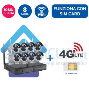 Kit Videosorveglianza 4G Wireless nvr 8 canali 8 ampia copertura radio - Funziona con SIM e wifi