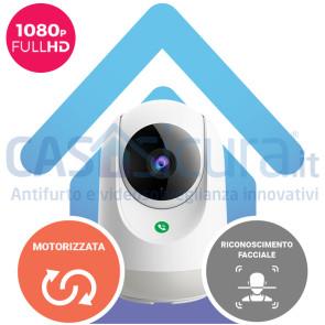 Telecamera IP wifi pan/tilt 360° motorizzata senza fili smart con riconoscimento facciale persone e funzioni intelligenti, Full HD, 8.0