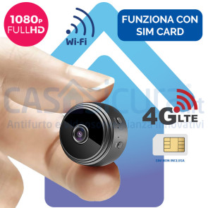 Mini telecamera spia 4G e WIFI con risoluzione FULL HD - Funziona con SIM e wifi