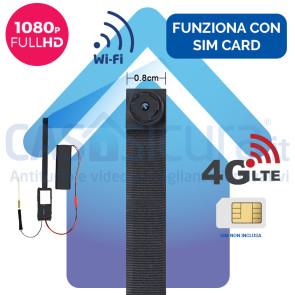 Micro telecamera spia 4G e WIFI con risoluzione FULL HD - Modello SLIM - Funziona con SIM e wifi