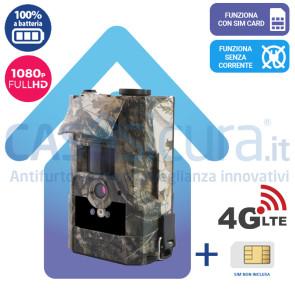Telecamera fototrappola 4G comp. 5G da esterno a batteria con schermo LCD - Funziona con SIM -  risoluzione fino a 16Mp >4K UHD
