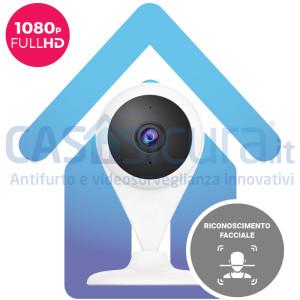 Telecamera IP wifi senza fili smart con riconoscimento facciale persone e funzioni intelligenti, full HD - QICam 2022 mod. PROAC1C